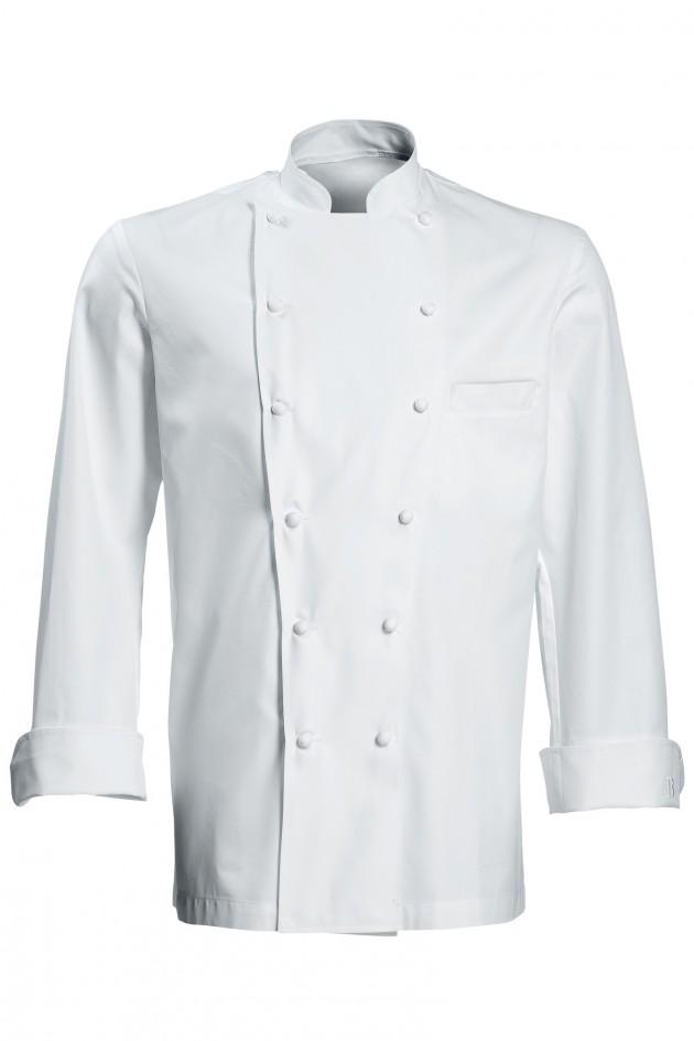 Veste de cuisine grand chef blanche ml avec poche poitrine for Veste de cuisine bragard