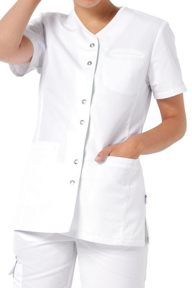 Witte jasschort met gekleurd biesje